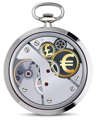 Stopwatch works with coins signs. Illustration