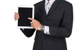 businessman Hands holding tablet islolated