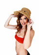Bikini girl with straw hat.