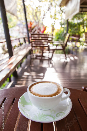 Hot latte in coffee shop