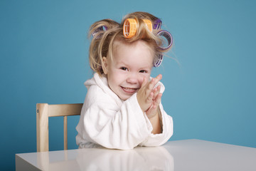 cute little girl with curler portrait