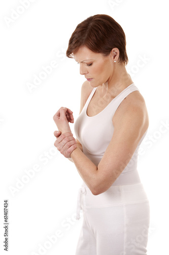 woman having a wrist pain