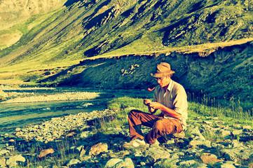 Tourist in Altai camp