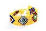 Colorful Woven Beaded Zulu Wrist Band Bracelet on White