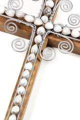 Closeup of Wire Cross and Beads Attached to Wooden Cross