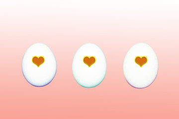 eggs with hearts