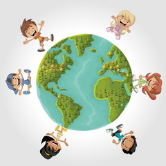 Cute happy cartoon kids over earth planet