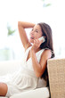 Smart phone pretty woman talking cheerful sitting