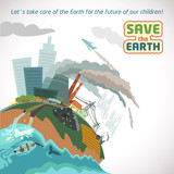 Big city pollution. Save the Earth eco poster