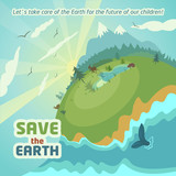 Virgin nature landscape. Save the Earth eco poster