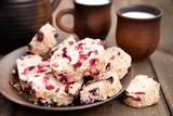Cranberry cookies in ceramic tableware