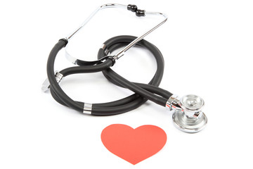 Medical stethoscope and heart.