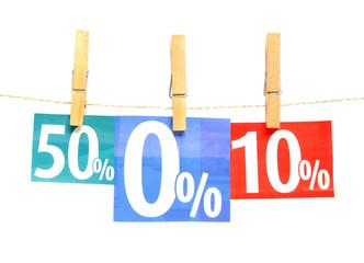 Prozent in Wäscheklammern
