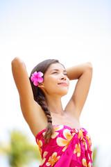 Spa ethnic pretty woman relaxed enjoying holiday