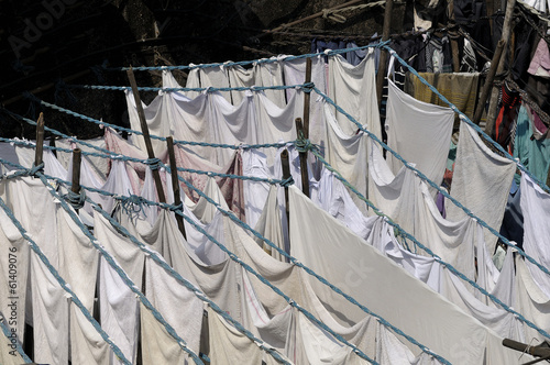 Clothes drying in the sun at Dhobi Ghat, Mumbai