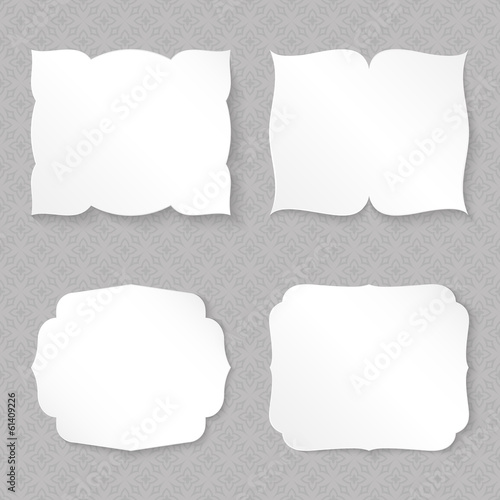 Blank figured paper cards set vector template.