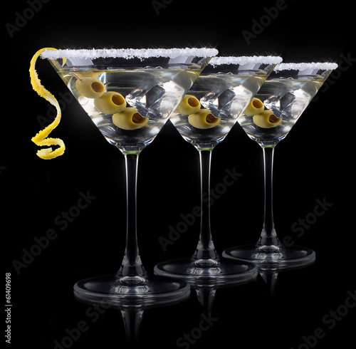 Cocktail martini on a black