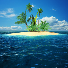 Paradise island in ocean