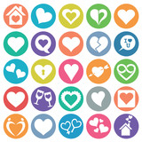 Heart icon set flat circle