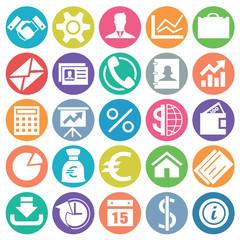 Business icon set flat circle