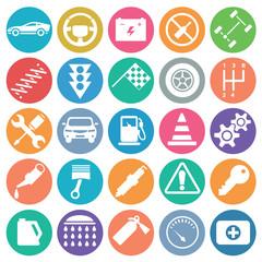 Auto icon set circle flat