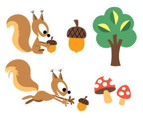 Squirrel & acorn design elements