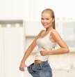 sporty woman showing big pants