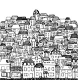 vector hand drawn illustration: city, real estate and houses