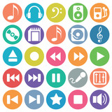Audio icon set flat circle