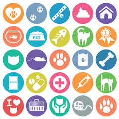 Pet cat icon set circle flat