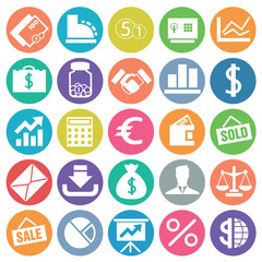 Finance icon set flat circle