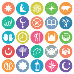 Islamic icon set circle flat