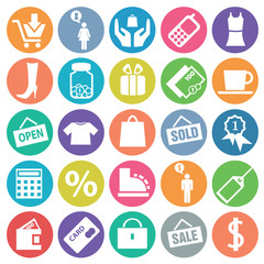 Shopping icon set circle flat