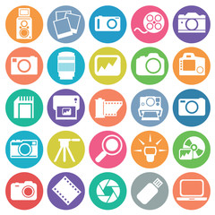 Photography icon set circle flat