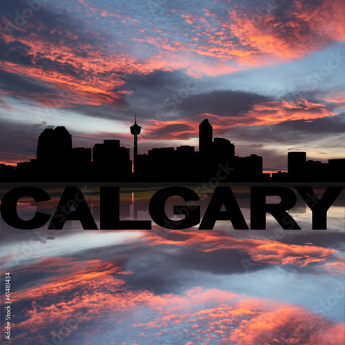 Calgary skyline and text reflected sunset illustration