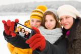 Ladies Taking Winter Selfie poster