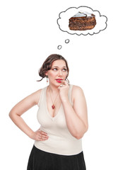 Plus size woman dreaming about cake