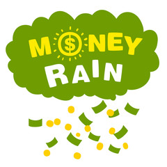 Vector money rain with banknotes and coins
