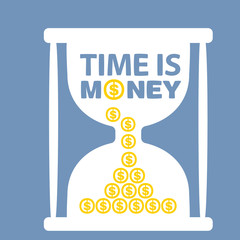 illustration with hourglass time is money