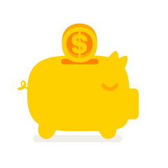 Vector  piggy bank with flying coin