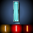 Realistic neon tube alphabet for light board. Letter I