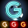 Realistic neon tube alphabet for light board. Letter G