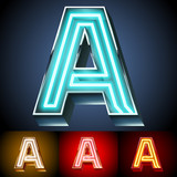 Realistic neon tube alphabet for light board. Letter A