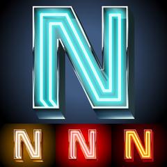 Realistic neon tube alphabet for light board. Letter N