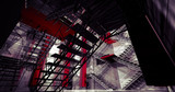 3d interior. Modern industrial interior, stairs, clean space in