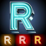 Realistic neon tube alphabet for light board. Letter R