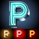 Realistic neon tube alphabet for light board. Letter P