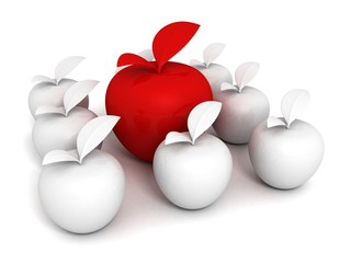 Concept of Unique Different Red Apple in White Set