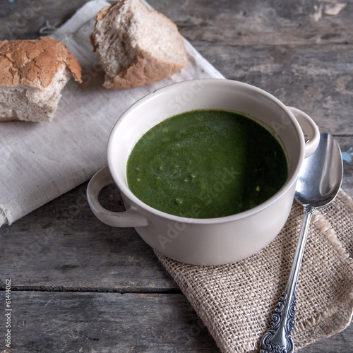 Closeup of broccoli cream soup