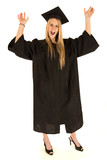 female model graduate excited celebrating with hands in the air